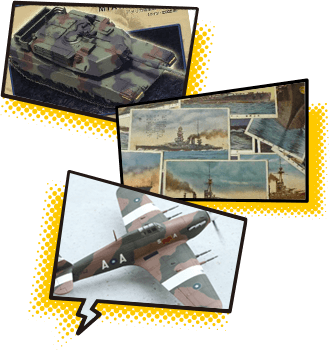 戦車や戦闘機、ミリタリーグッズの画像